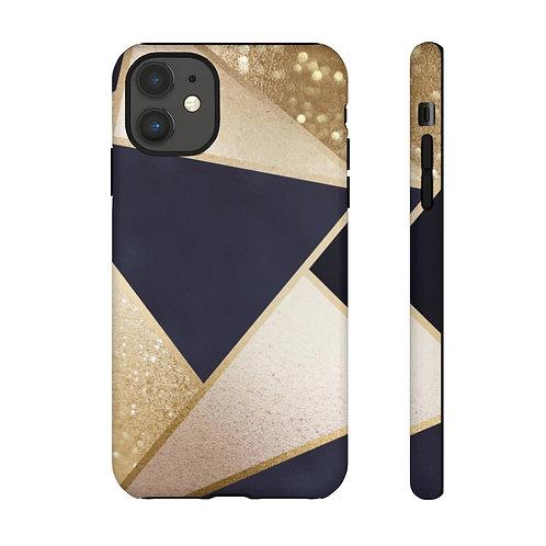 Navy + Rose Gold Glittered Geo Designer Tough Case