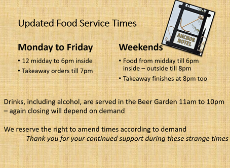 Our food service times have been updated