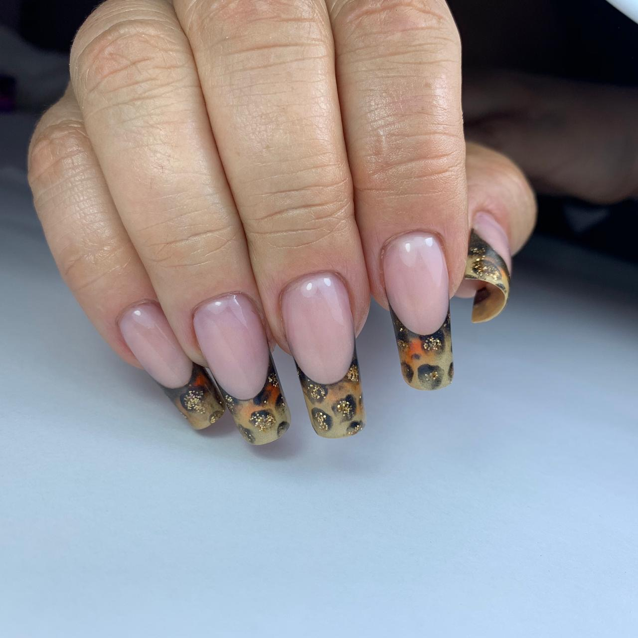 Animal Print Aqua French Nails