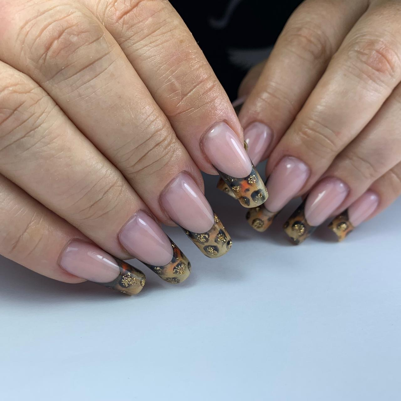 Animal Print French Nails