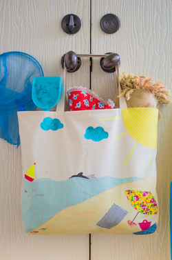 Customized beach tote bag