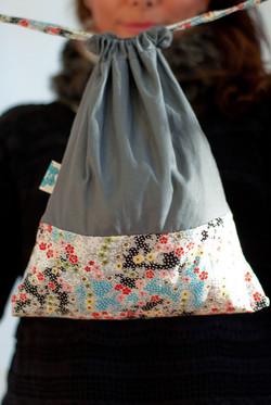 Draw string bag mixed fabrics