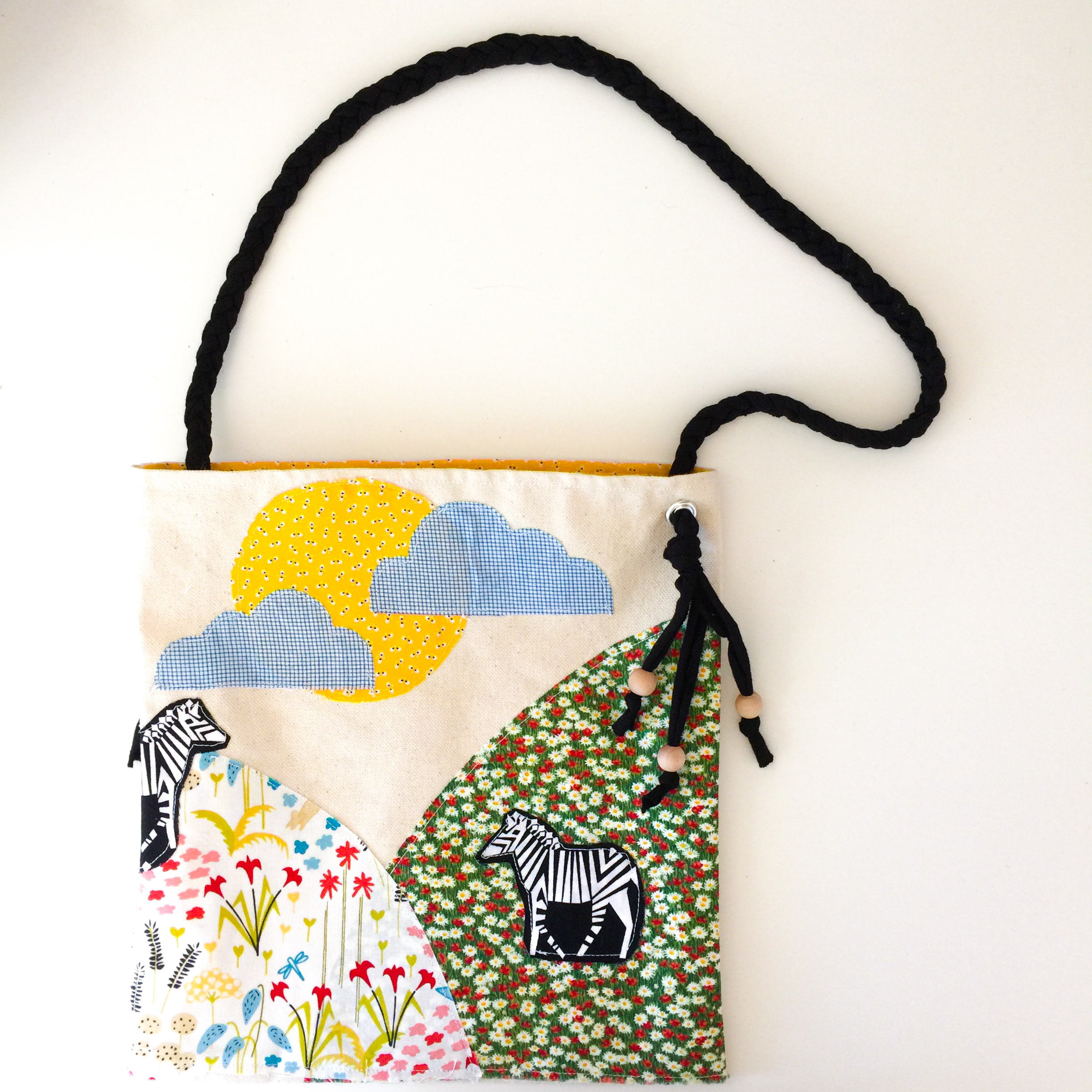 Raw edge appliqué bag