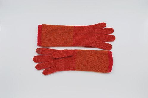 Lange Gestreepte Handschoenen Oranje/Rood