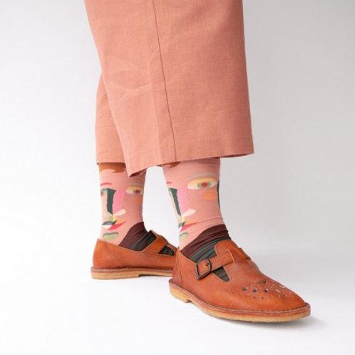 Katoenen sokken gezicht met strepen