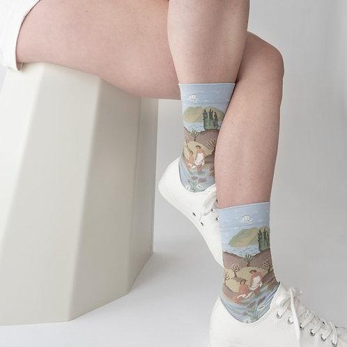 Katoenen sokken licht blauw
