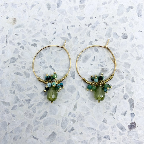 Oorbellen Bocciolo Groen/Turquoise