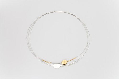 Fijne halsketting in zilver en goud/Fine necklace in silver and gold