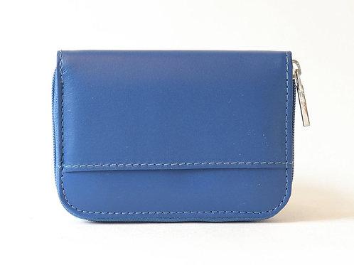 Blauwe lederen portemonnee