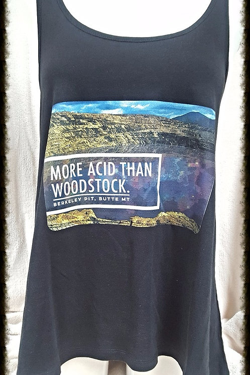 More Acid Than Woodstock Ladies Racerback Flare Tank