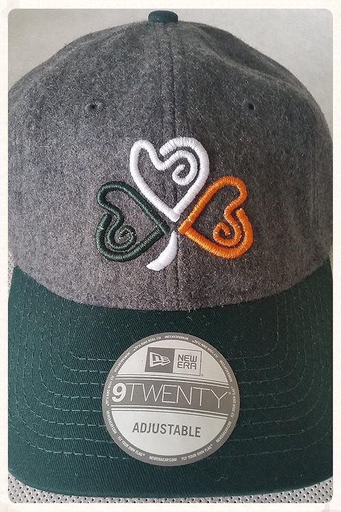 Orange, Green & White Heart Puff Shamrock Wool Cap