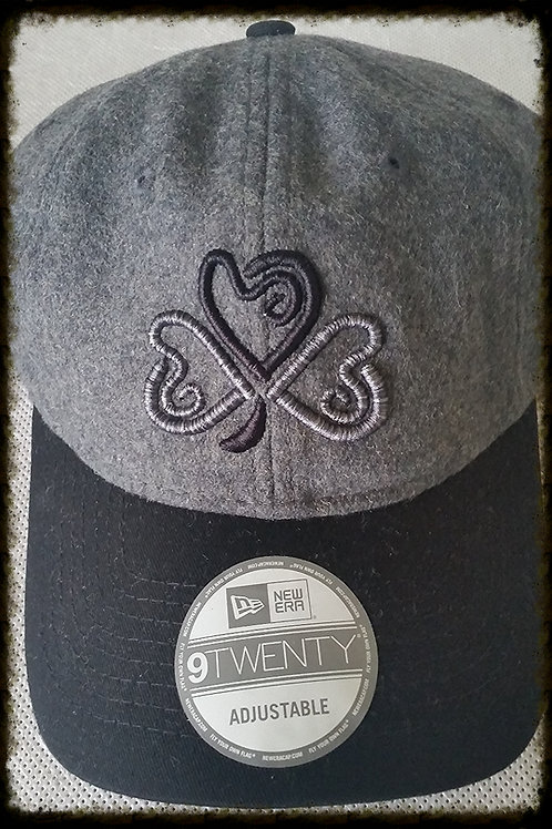 Black & Grey Heart Puff Shamrock Wool Cap