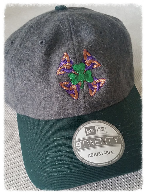Grey Wool Celtic Shamrock Cap