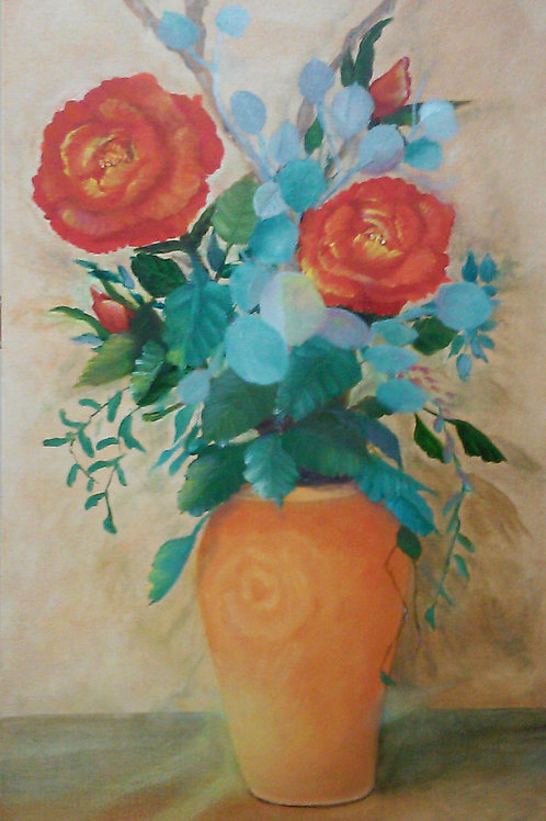Or'anged Roses in Vase