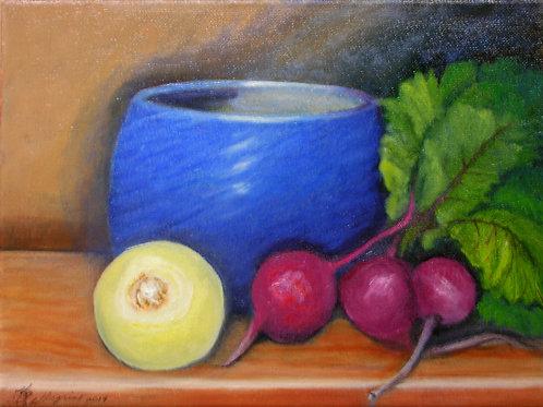 Beets An Onion 'N A Blue Bowl