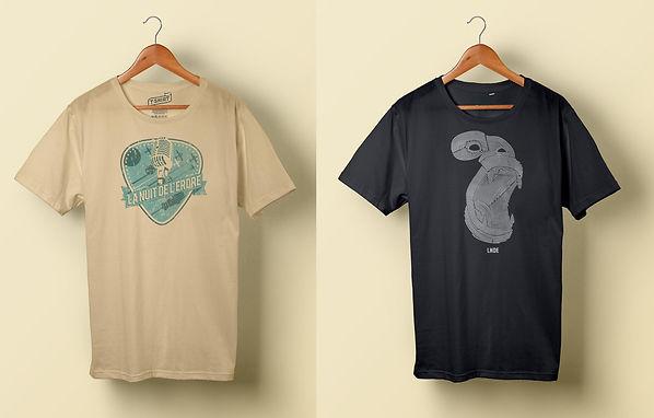 Création visuels pour tee-shirts - Festival Nuit de l'Erdre - Smole Studio - Nantes, Savenay