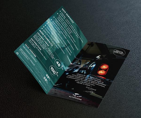Création Flyer - Garage Auto'n'home - Smole Studio - Nantes, Savenay