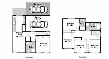 Black-&-White Real Estate Floorplans