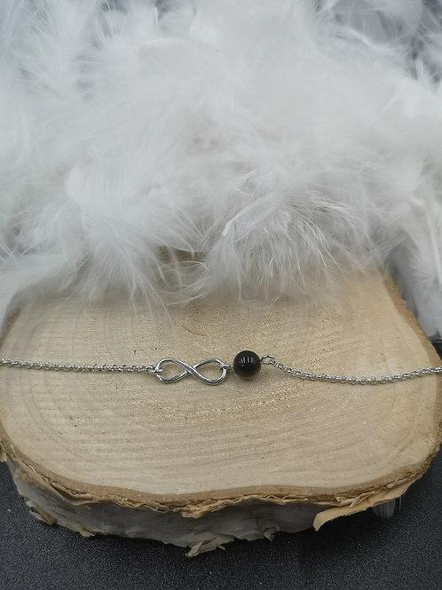 Bracelet argent infini onyx