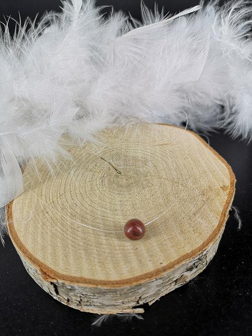 Collier fil nylon jaspe rouge fermoir argent