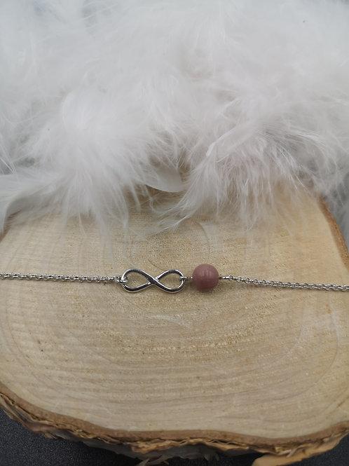 Bracelet argent infini et rhodonite