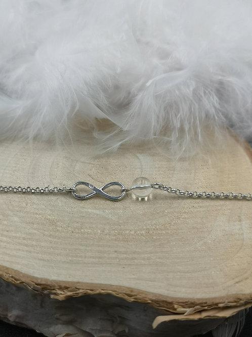 Bracelet argent infini et cristal de roche