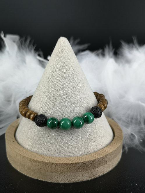 Bracelet homme bois et malachite