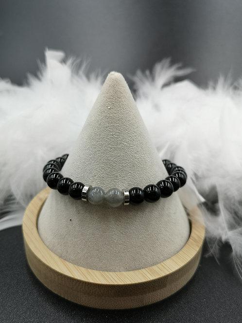 Bracelet homme Onyx et labradorite