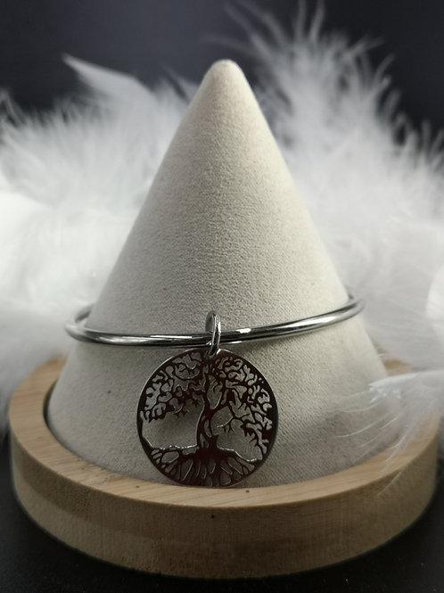 Jonc acier joaillier pampille arbre de vie 27mm