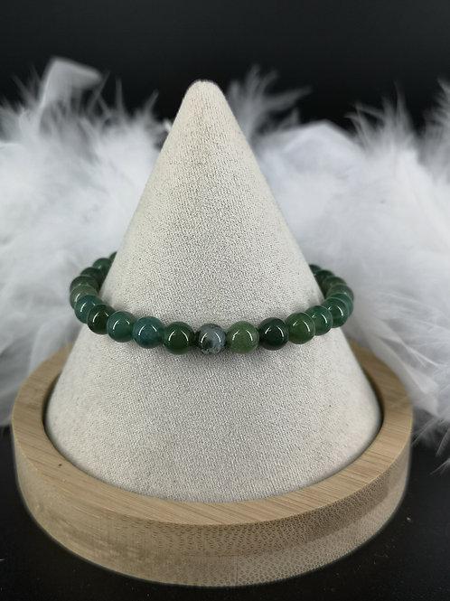 Bracelet agate mousse 6mm