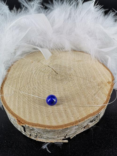 Collier fil de nylon lapis lazuli fermoir argent