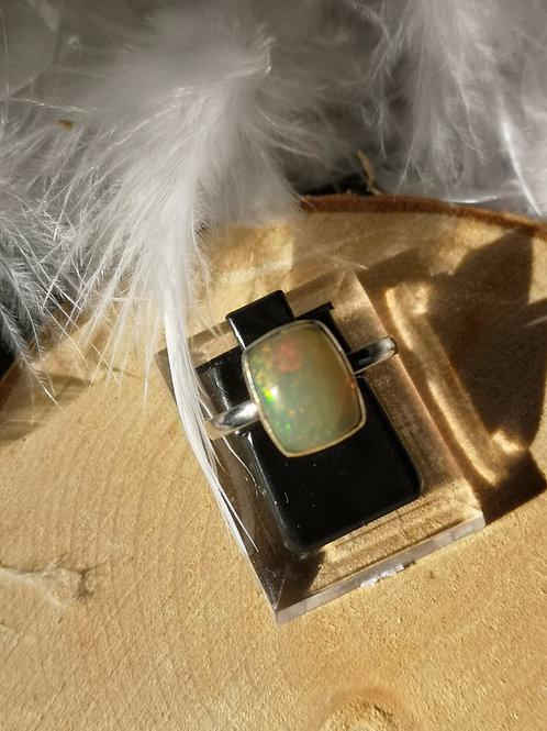 Bague argent opale réglable t56 à t60
