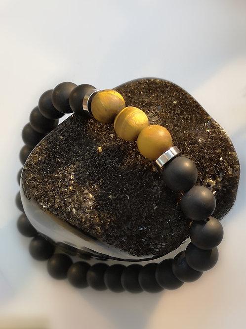 Bracelet obsidienne et œil de tigre mat