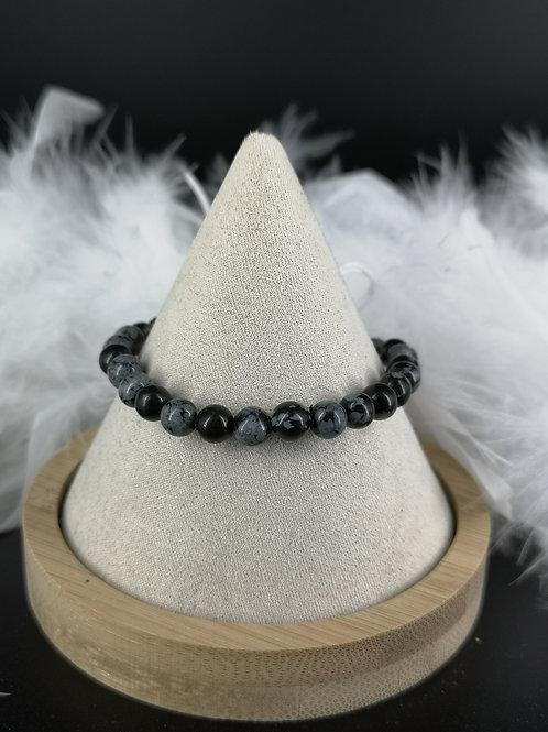 Bracelet obsidienne neige 6mm