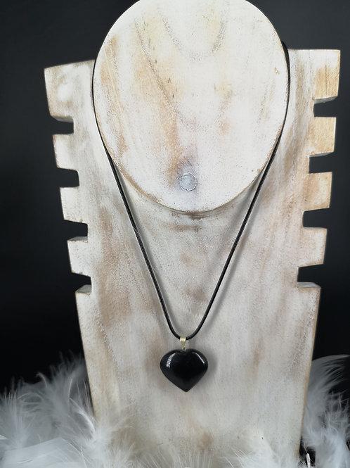 Pendentif cœur obsidienne noire