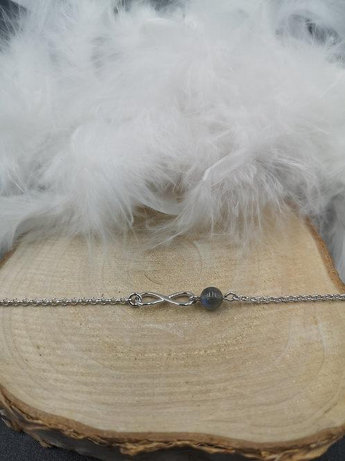 Bracelet argent infini et labradorite