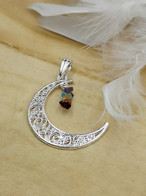 Pendentif lune chakras