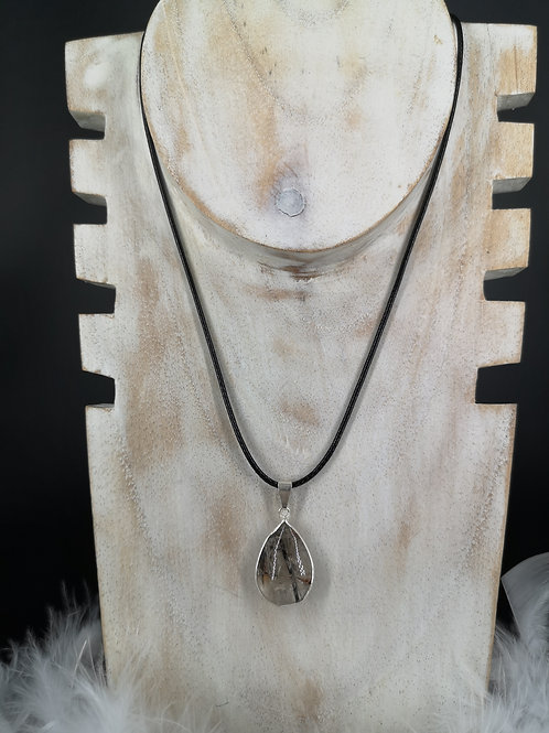 Pendentif goutte plaque argent quartz tourmaline