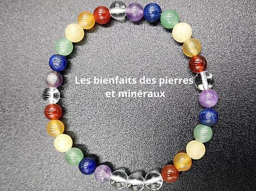 Bracelet pierres 6mm 'chakras'