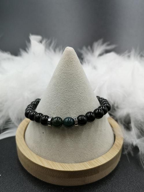 Bracelet homme Onyx et agate mousse