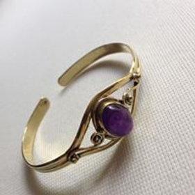 bracelet bronze + Améthyste