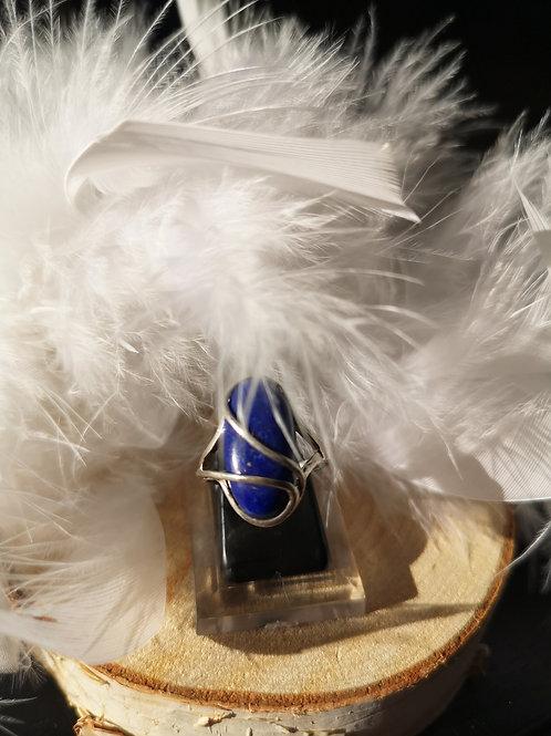 Bague argent lapis lazuli t53