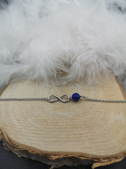 Bracelet argent infini et Lapis-lazuli