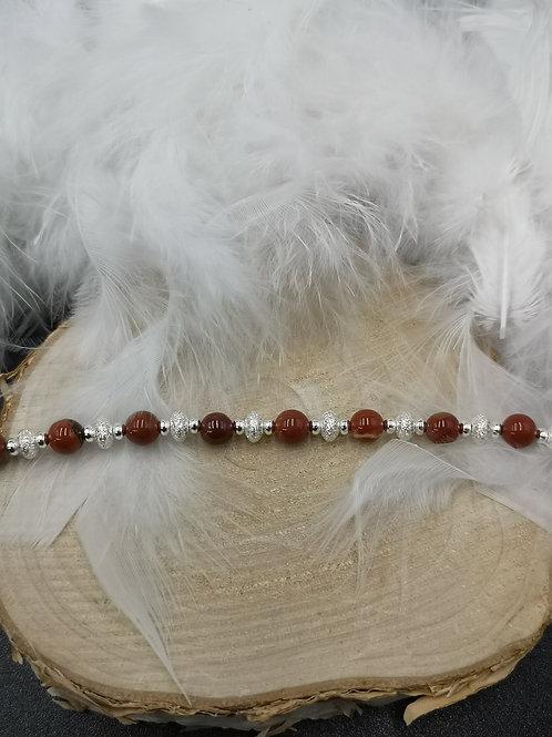 Bracelet argent et jaspe rouge