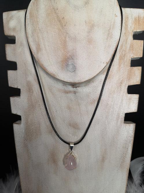 Pendentif plaque argent quartz rose