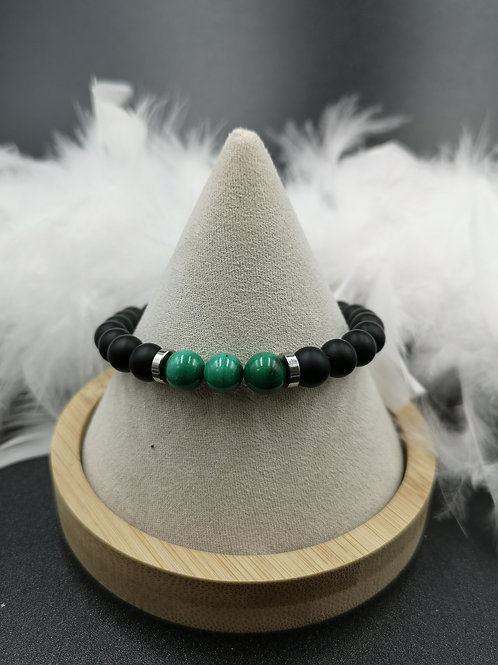 Bracelet homme Onyx mat et malachite