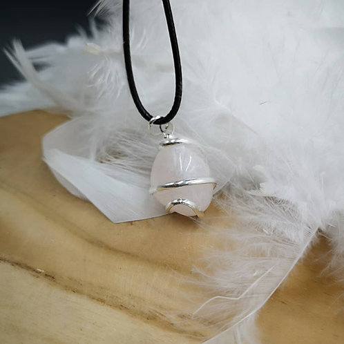 Pendentif quartz rose fil d argent