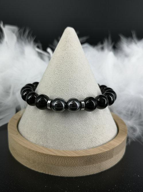 Bracelet homme Onyx et Hematite 10mm