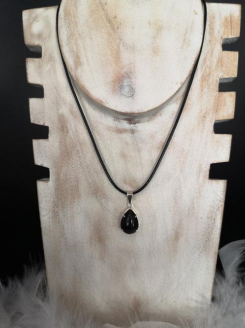 Pendentif plaque argent obsidienne