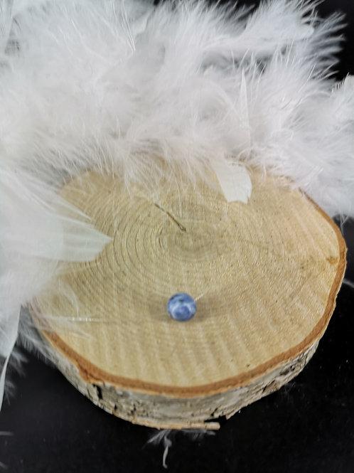 Collier fil nylon sodalite fermoir argent